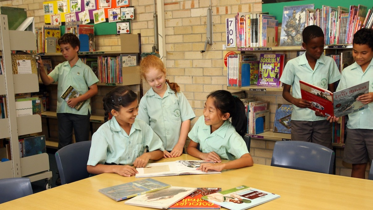 Students in the library reading books